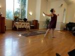 Hannah Boning dancing for closing worship